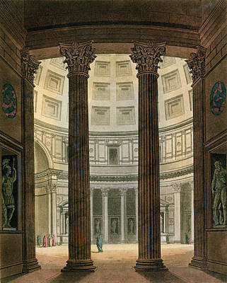 Ancient Roman Drawing - Interior Of The Pantheon, Rome by Fumagalli