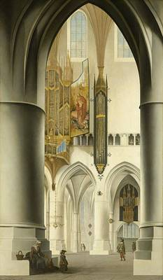 1636 Painting - Interior Of The St. Bavo Church In Haarlem by Pieter Jansz Saenredam