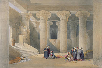 Temple Drawing - Interior Of The Temple At Esna, Upper Egypt, From Egypt And Nubia, Engraved By Louis Haghe by David Roberts
