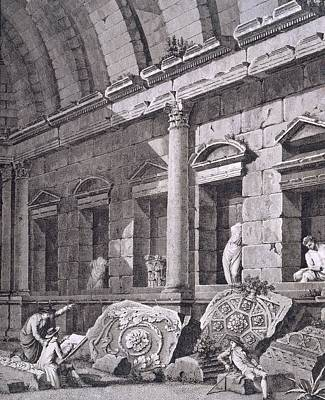 Temple Drawing - Interior Of The Temple Of Diana, Nimes by French School