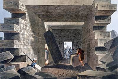 Temple Drawing - Interior Of The Temple Of Jupiter by Luigi Mayer