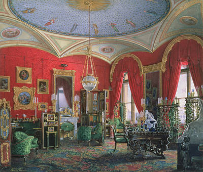Desk Painting - Interior Of The Winter Palace by Eduard Hau