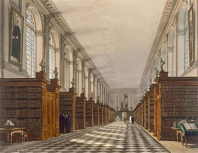Gown Drawing - Interior Of Trinity College Library by Augustus Charles Pugin