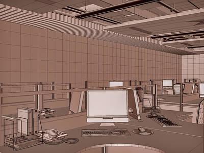 Interior Office Room Print by Nenad Cerovic
