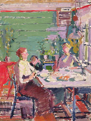 Camden Town Group Photograph - Interior Scene, Possibly In Norway, C.1912 Oil On Canvas by Harold Gilman