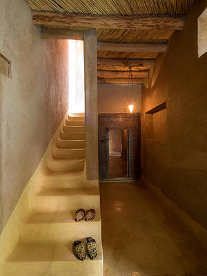 Interior Stairway With Slippers In Dar Art Print