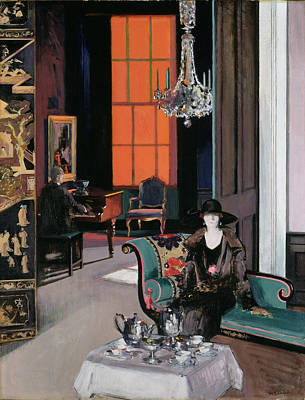 Chaise Longue Painting - Interior - The Orange Blind, C.1928 by Francis Campbell Boileau Cadell