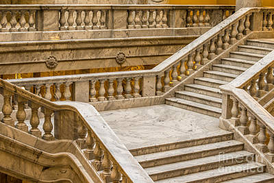 Interior - Utah Capitol Marble Staircase Art Print by Gary Whitton