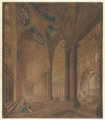 Anton Drawing - Interior View Of The Basilica Of Santa by Anton Hallmann