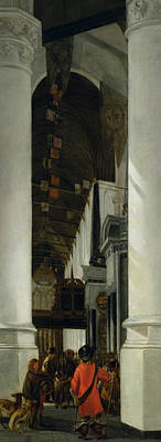White Marble Painting - Interior View Of The New Church In Delft by Emanuel de Witte