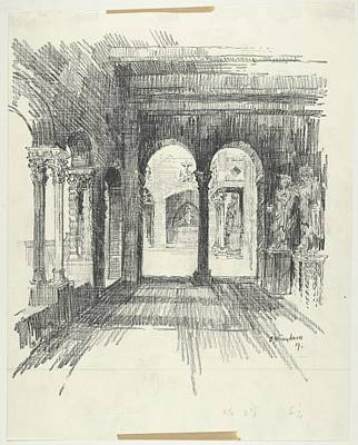 Howard Drawing - Interior View Of The Side Aisle by Edward Howard Suydam