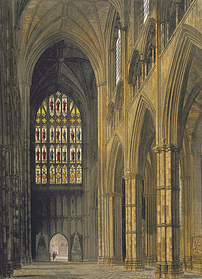 Stained Drawing - Interior View Of Westminster Abbey by Frederick Mackenzie