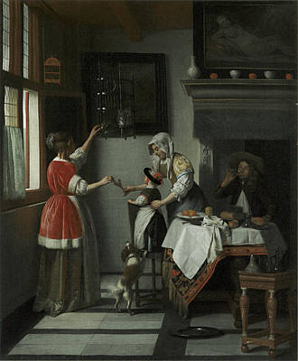 Painting - Interior With A Child Feeding A Parrot by Pieter de Hooch