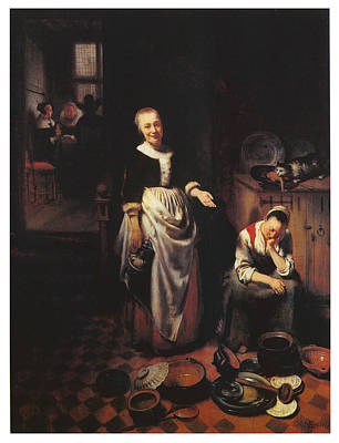 Interior With A Sleeping Maid And Her Mistress Art Print by Nicolaes Maes