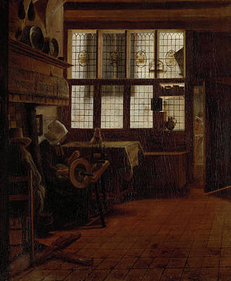 Spinning Drawing - Interior With A Woman At A Spinning Wheel by Litz Collection