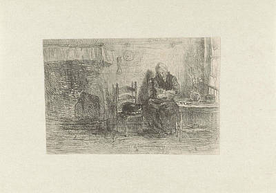 House Cats Drawing - Interior With Old Woman, Jozef Israls by Jozef Isra?ls