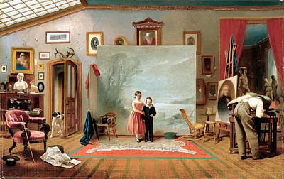 Interior With Portraits Art Print
