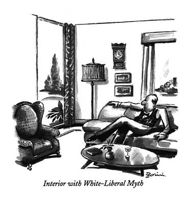 Liberal Drawing - Interior With White-liberal Myth by Eldon Dedini
