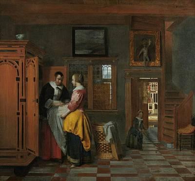Netherlands Painting - Interior With Women In A Linen Closet by Pieter de Hooch