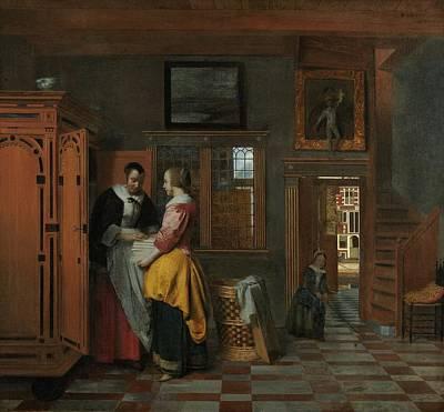 Pieter De Hooch Wall Art - Painting - Interior With Women Inside A Linen Cupboard by Pieter de Hooch