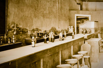 Stools And Counter Photograph - Interiors Of A Bar by Celso Diniz