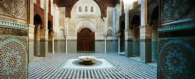 Fez Photograph - Interiors Of A Medersa, Medersa Bou by Panoramic Images