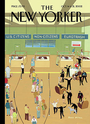 Queue Painting - International Arrivals by Bruce McCall