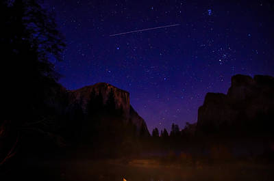 International Space Station Over Yosemite National Park Art Print