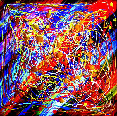 Painting - Internet 3 Tron Virtuosity Matrix Digital World Neural Network Connection by Richard W Linford