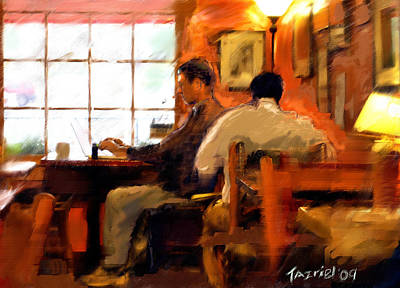 Art Print featuring the painting Internet Coffee House by Ted Azriel