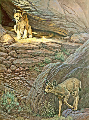 Interruption-cougar And Fawn Art Print by Paul Krapf