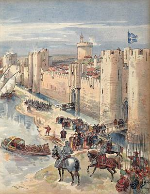 Interview Of Aigues-mortes Art Print by Albert Robida