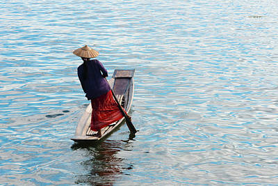 Oar Photograph - Intha Woman Rowing Boat With Leg On by Keren Su