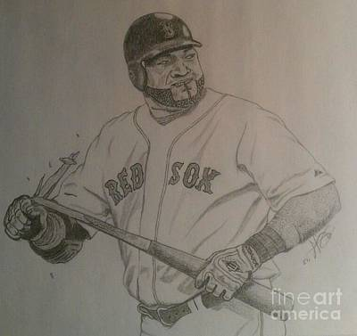 Mlb Boston Red Sox Drawing - Intimidating David Ortiz by Rox Fort