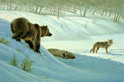 Grizzly Bear Painting - Intimidation   by Paul Krapf