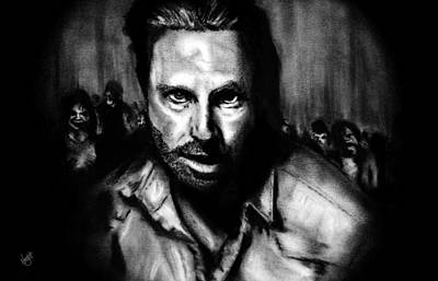 Grime Drawing - Into Darkness by Nick Burkett