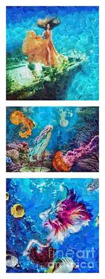 Into Deep Triptic Art Print by Mo T