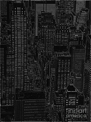 Arial View Digital Art - Into Nyc White On Black by Meandering Photography