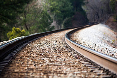 Train Tracks Photograph - Into The Distance by Parker Cunningham