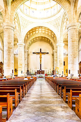 Crucifix Art Photograph - Into The Light At Merida Cathedral by Mark E Tisdale