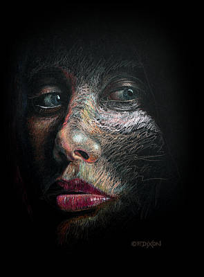 Colored Pencil Portrait Drawing - Into The Light by Frank Robert Dixon