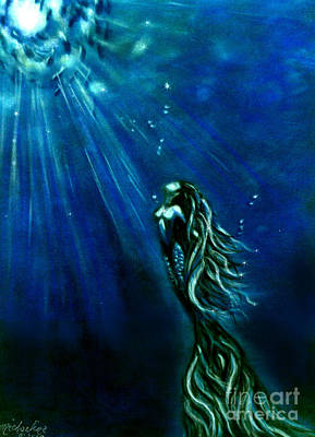 Mermaid Painting - Into The Light by Michaeline McDonald