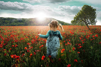 Running Photograph - Into The Poppies by John Wilhelm