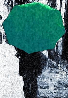The Umbrellas Digital Art - Into The Rain Green Umbrella by Dan Sproul