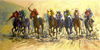 Painting - Into The Stretch by Janet  Kruskamp