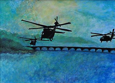 Army Air Service Painting - Into The Sunset by Jill Jacobs