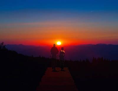 Into The Sunset Together Art Print by John Haldane