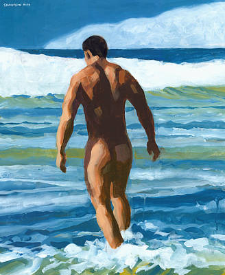 Swimmer Painting - Into The Surf by Douglas Simonson