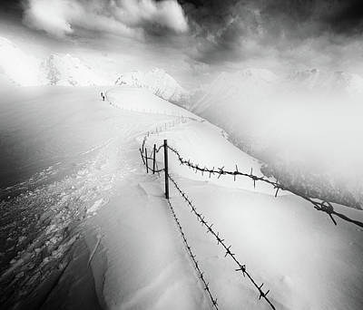 Barbed Wire Photograph - Into The White by Luca Rebustini