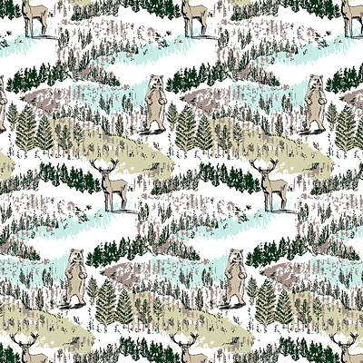 Painting - Into The Wild Woodland Animals Vector Stag And Bear In Forest by Laura Thompson
